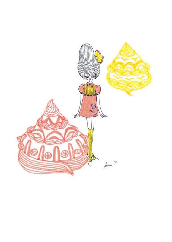 Mini darling in a peach-yellow dress
