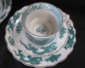 Famous Green Dragon China by Booth Made in England(6 pcs)
