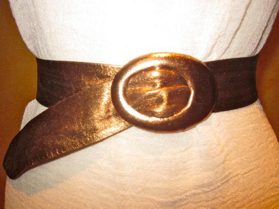 Vintage Metallic Copper Suede Cinch Belt With Covered Buckle