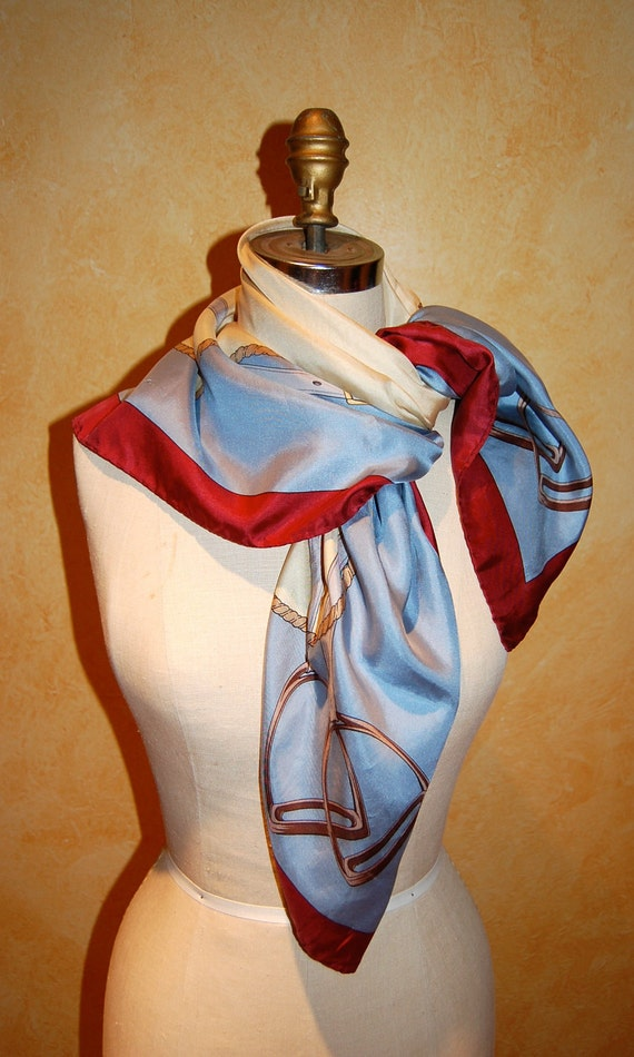 Vintage Equestrian Silk Scarf From Italy