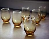 Vintage  Mod Amber  Glasses  Six Barware Juice Houseware