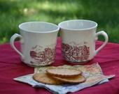 Vintage Cottage Scene Mugs/ Tea Cup Made in England Coffee Mugs