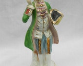 Vintage Hand Painted Figurine of Colonial Man, made in Japan, Collectible Decoration, 1960s