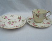 Vintage Haviland Tea Cup, Saucer and Bowl, Delaware pattern Collectible Tea Coffee Pink Green