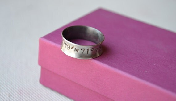 Longitude Latitude Sterling Silver Flared Ring