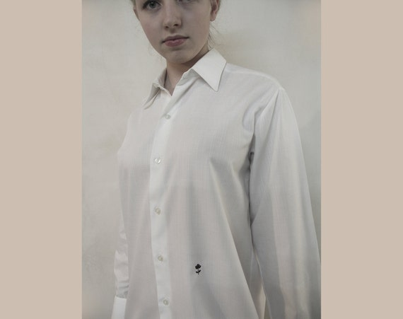 White button-down bright men shirt with little black rose detail