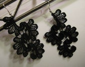 black antique lace earrings