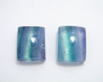 FLUORITE pair AAA  MULTICOLOR Gemstone square Cabochon. High Quality.