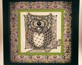 Owl -- Zentangle Inspired Original Artwork in 8x8 Frame