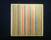 Ceramic tile coasters, pastel stripes, set of 4 great patio decor