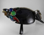 RESERVED for Brenda:Vintage Sunglasses Extreme Batwing Cats Eyes Designer Signed Bejewelled R.O.C. Frames