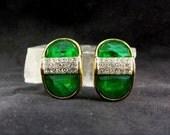 Vintage SPHINX Earrings Emerald Green Diamond Rhinestones Gold Tone Clip Ons 22.00 o.b.o.