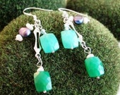 HOLD for Lynne - Mates Rates! Earrings Green Chrysoprase Freshwater Pearls Sterling Silver