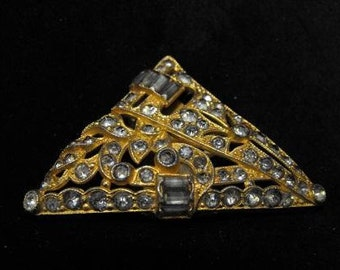 Very Old Dress Clip Rhinestone Mixed Metals Foiled Backs