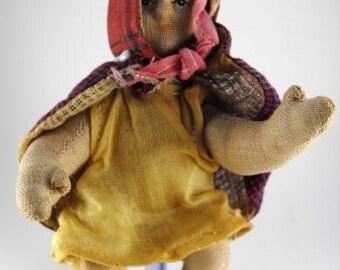 Vintage Toy Cloth Ragdoll Miniature Red Ridinghood Cape Dress Circa 1930