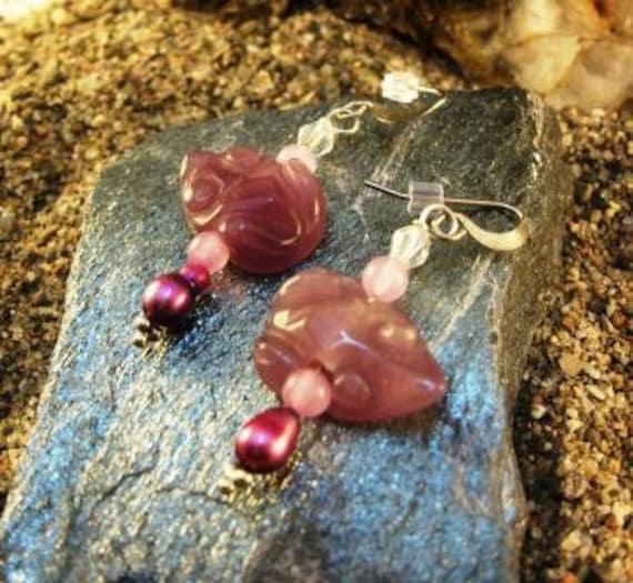 Purple Jade Earrings Carved Frogs Sterling Silver Artisan Made