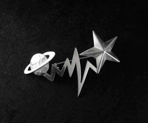 Vintage Brooch 70s Mod Cosmic Saturn Star Comet Pin Mixed Metals 20.00 o.b.o.