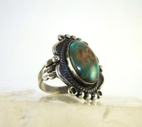 Vintage TURQUOISE Ring NAVAJO Silver Nevada Green Turquoise Exquisite Design 40.00 o.b.o.