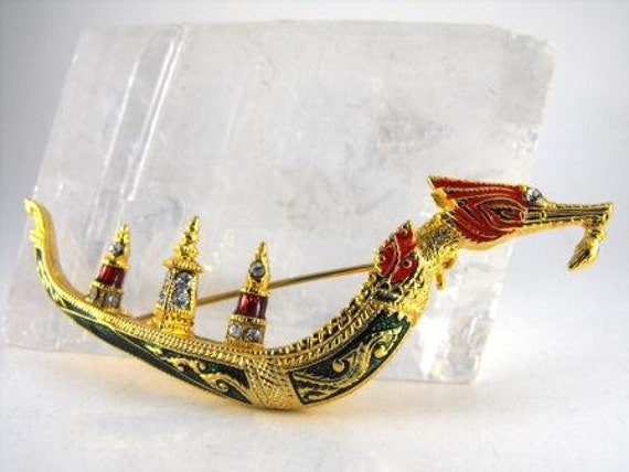 Vintage BROOCH Dragon Boat Gold Tone ENAMELED And Bejewelled Rhinestones Red Green Gold 25.00 o.b.o.