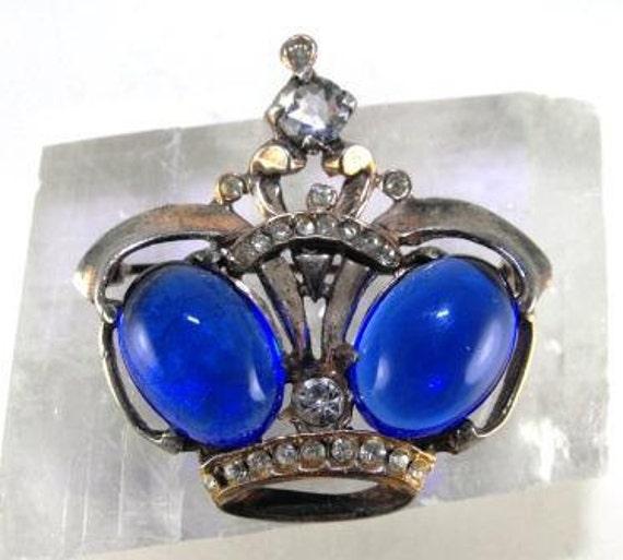 Sterling Crown Jewel Brooch Blue White Rhinestones 45.00 obo