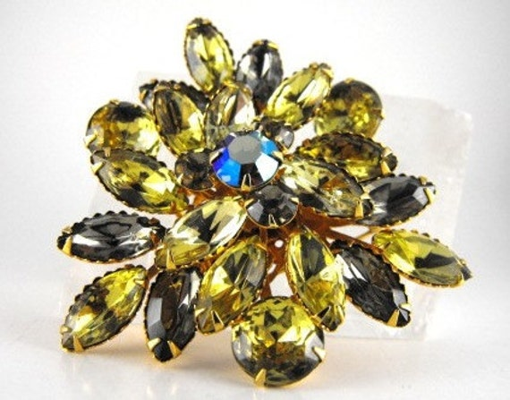 RESERVED Ms. Soapycakes; Spectacular Vintage Brooch Multi Tiered Chartreuse Wonder Unsigned Beau Jewels Style