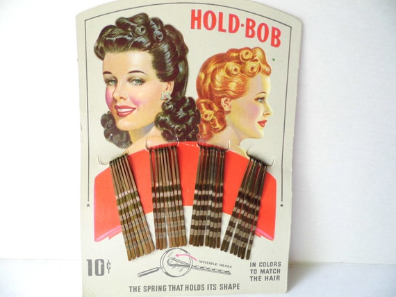 Pin Curl Crazy, Vintage Display Card of Hold-Bob Hair Pins, 1930s 1940s, from All Vintage Lady