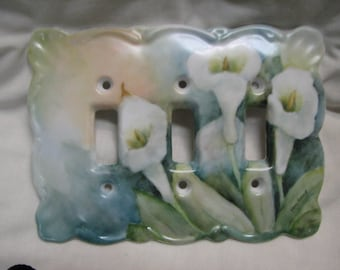 Cala Lily Porcelain Triple switchplate cover