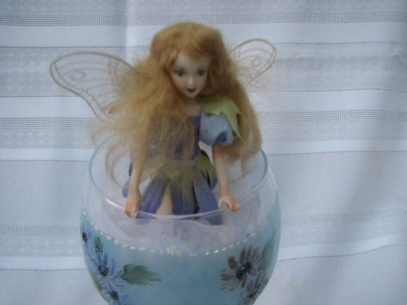 Hand painted porcelain Fairy doll in a Wineglass