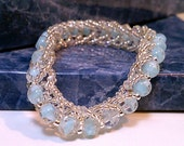 CLEARANCE Blue Glass Beads & Silver Beaded Chain Bracelet with stretch and Swarovski crystals