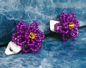 Purple Beaded Flower Hair Clip Plastic Hair Barrette
