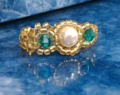 Custom Pearl Ring Designed Your Way - Beaded Light Weight Ring Metal Free