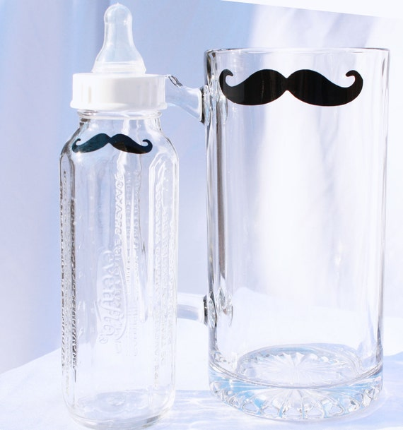 Mustache Mug and Bottle for Fathers and Sons