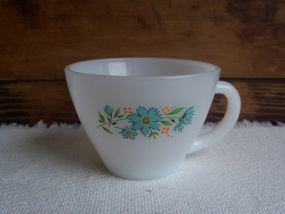 Fire King Blue Flowers Cup, Vintage 1950s