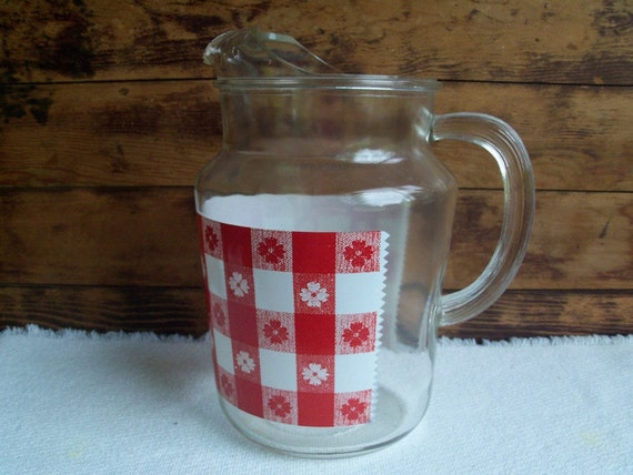 SALE - Federal Glass Country Picnic Tablecloth Pitcher, Vintage 1950-60s