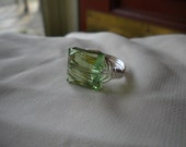 Swarovski Stairway Crystal Wire Wrapped Ring in Peridot, Wrapped in Silver wire - sz 7.5