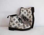 Original Doc Martens, leather boots, air wair, black and white, 90's, psychedelic, punk, grunge, size 9 mens