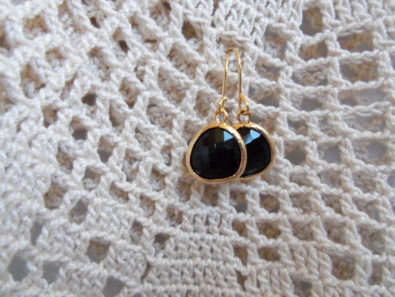 14k Gold Framed Black Onyx Dangle Earring with Gold Filled Ear Wire Jewelry