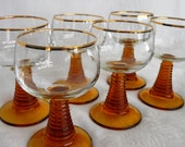 Mid-Century Roemer Wine Glasses, Gold Rim Amber Stem glasses.  Set of Six.