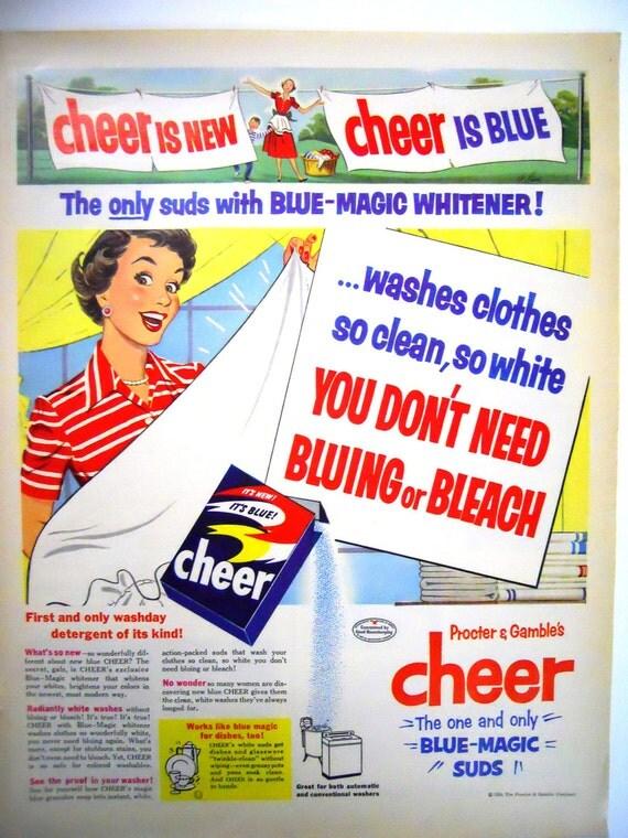 1950s Cheer Detergent Magazine Advertisment.