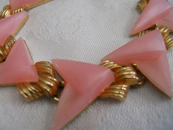 Moonstone Atomic Pink and Gold Necklace.