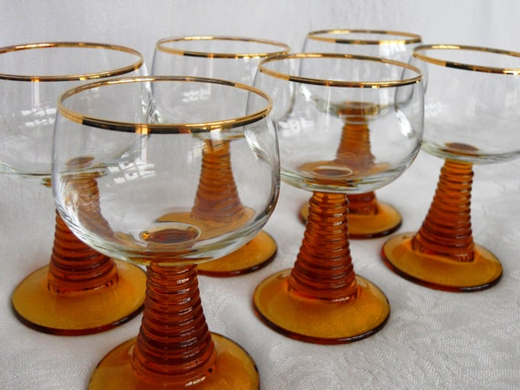 Mid-Century Roemer Wine Glasses, Gold Rim Amber Stem glasses.  Set of Six.