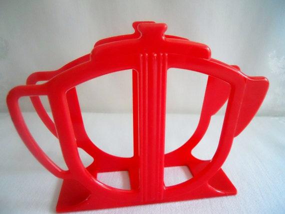 Retro Red Coffee Pot Shape Plastic Napkin Holder.