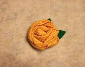 Yellow Fabric Rosette Hair Clip.