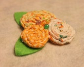 3 Yellow Fabric Rosettes Hair Clip.