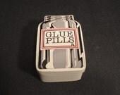 Vintage Fitz and Floyd Ceramic Glue Pills Covered Box 1979