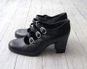 Vintage black Leather heeled Mary Jane