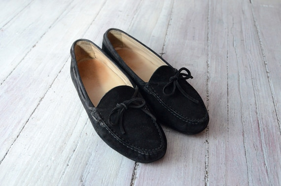 Vintage 90s Black Suede Moccasins with bow