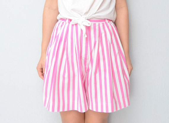 RESERVED for Lindsay Vintage High waist shorts Pink and White stripes