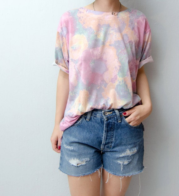 Vintage Pastel Watercolor Tshirt 90s
