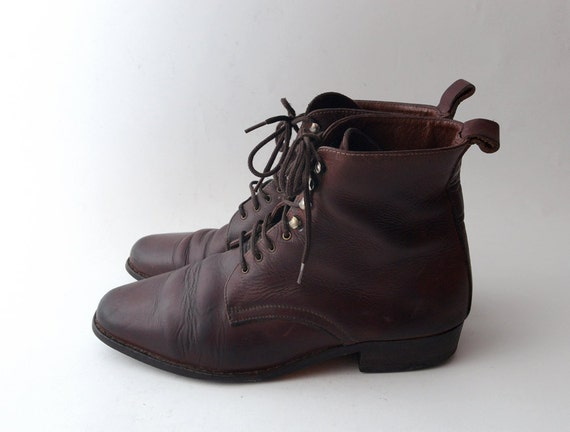 Vintage distressed brown leather lace up grunge boots